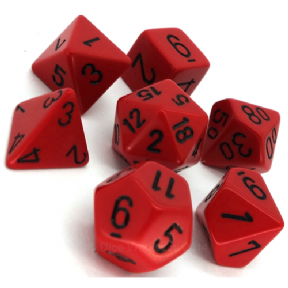 Red & Black Opaque Polyhedral 7 Dice Set